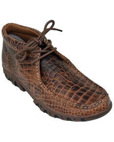Ferrini Men's Croc Print Moccasin Boots - Moc Toe, Brown, hi-res