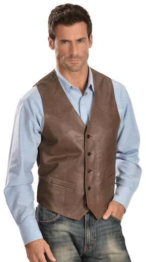 Scully Lambskin Leather Western Vest, Chocolate, hi-res