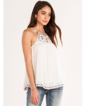 Miss Me Women's Embroidered Tank, White, hi-res