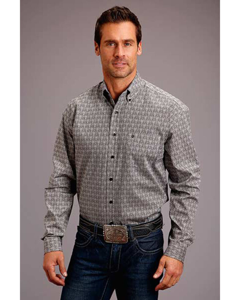 Stetson Men's Black Medallion Geo Print Long Sleeve Western Shirt , Black, hi-res