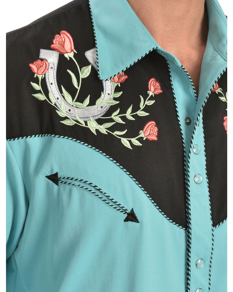 Scully Men's Rose & Horseshoe Embroidered Retro Long Sleeve Western Shirt - Big & Tall, Turquoise, hi-res