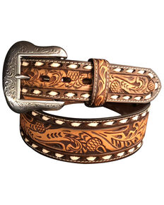Roper Men's Tapered Floral Tooled Silver Buckle Belt , Natural, hi-res