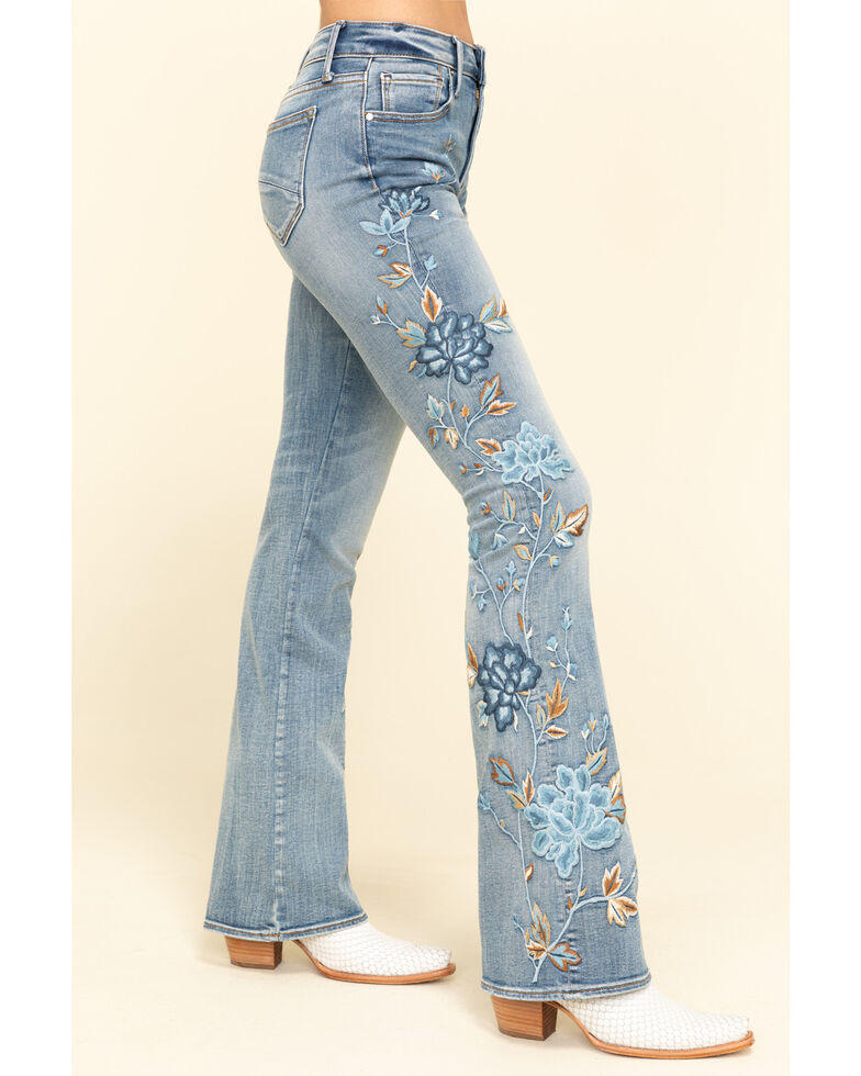 Driftwood Women's Isabel Medium Embroidered Flare Jeans  , Blue, hi-res
