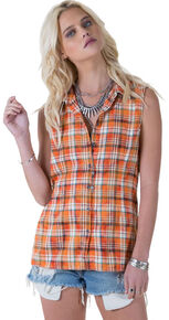 ec62f585 White Crow Women's Plaid and Lace Flip-Side Top