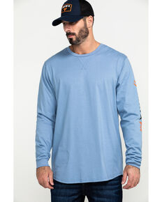 Hawx Men's Blue FR Logo Long Sleeve Work T-Shirt - Tall , Blue, hi-res