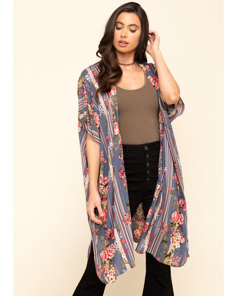 Angie Women's Stripe Floral Challis Kimono, Blue, hi-res