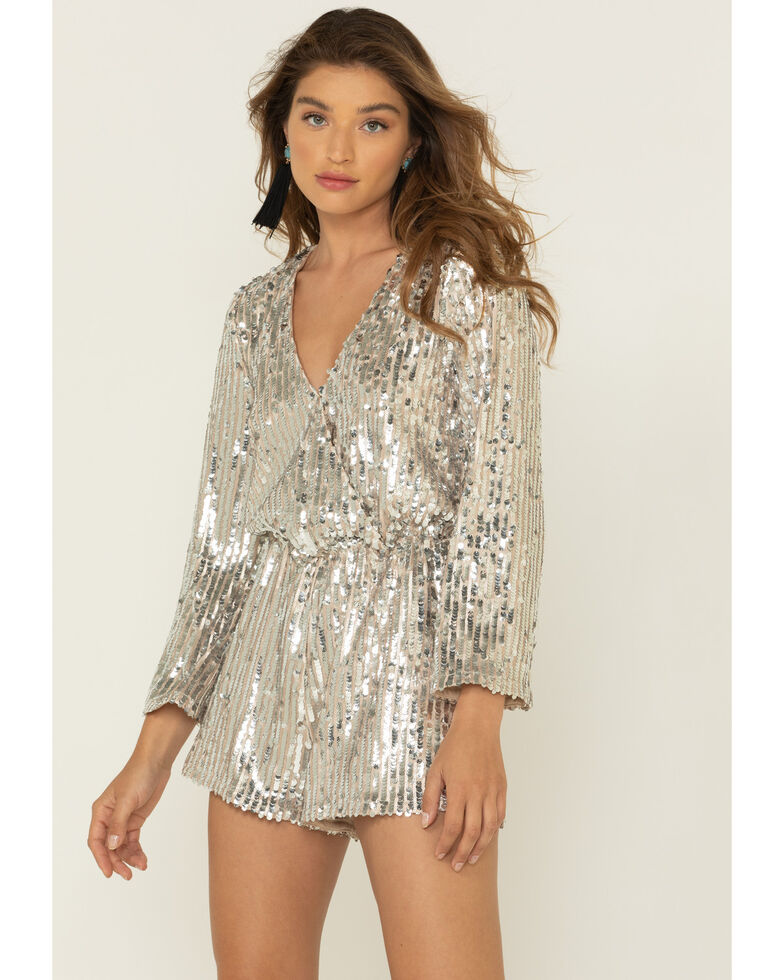 By Together Women's Gold Sequin Romper, Gold, hi-res