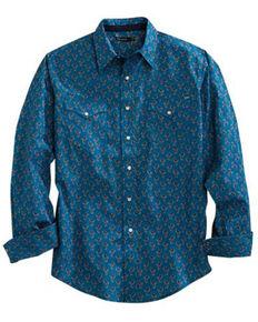 Tin Haul Men's Grid Paisley Print Long Sleeve Western Shirt , Blue, hi-res