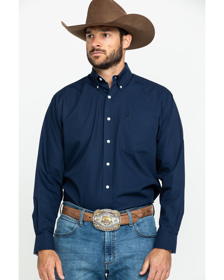 Ariat Men's Navy Wrinkle Free Button Long Sleeve Western Shirt - Big , Navy, hi-res