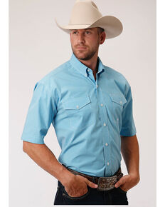 Roper Men's Amarillo Desert Sky Check Plaid Short Sleeve Western Shirt , Blue, hi-res