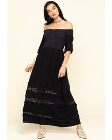Coco + Jaimeson Women's Smocked Bodice Off The Shoulder Maxi Dress, Navy, hi-res