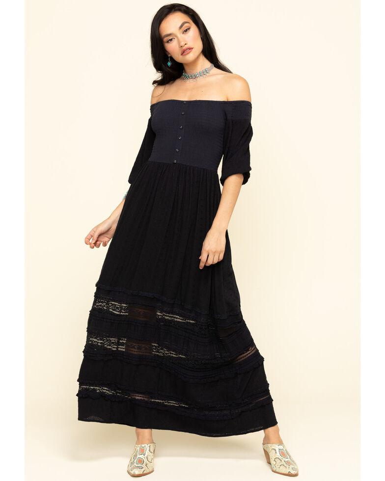 Coco + Jaimeson Women's Smocked Bodice Off The Shoulder Maxi Dress, Navy, hi-res