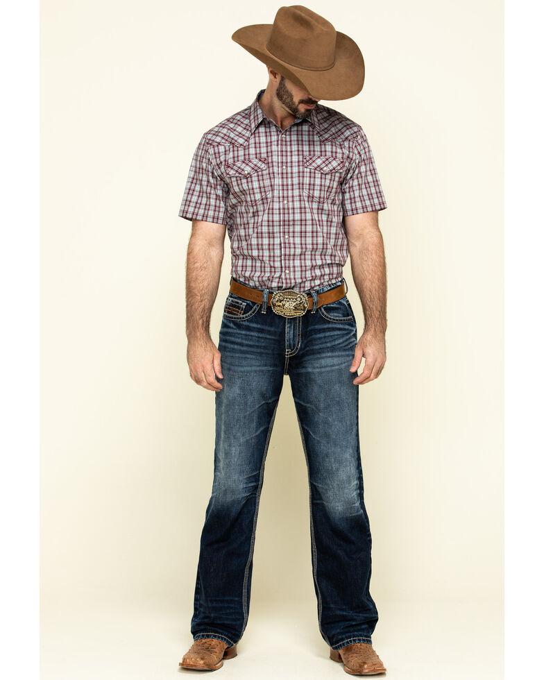 Cody James Men's Static Small Plaid Short Sleeve Western Shirt - Big , Maroon, hi-res