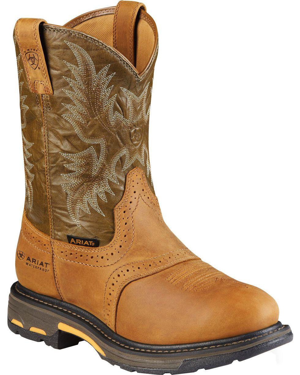 Ariat Brown H20 Workhog Work Boots - Composite Toe, Aged Bark, hi-res
