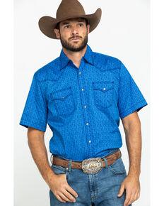Wrangler 20X Men's Advanced Comfort Blue Paisley Print Short Sleeve Western Shirt , Blue, hi-res