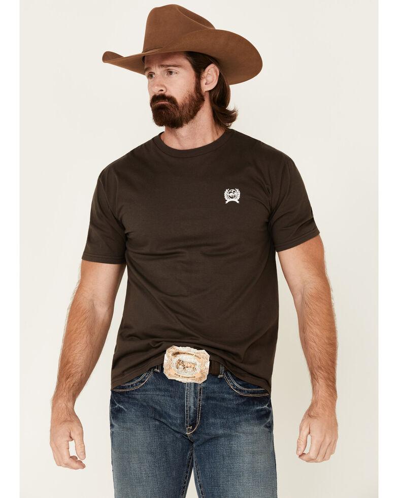 Cinch Men's Arrowhead Logo Graphic Short Sleeve T-Shirt , Brown, hi-res
