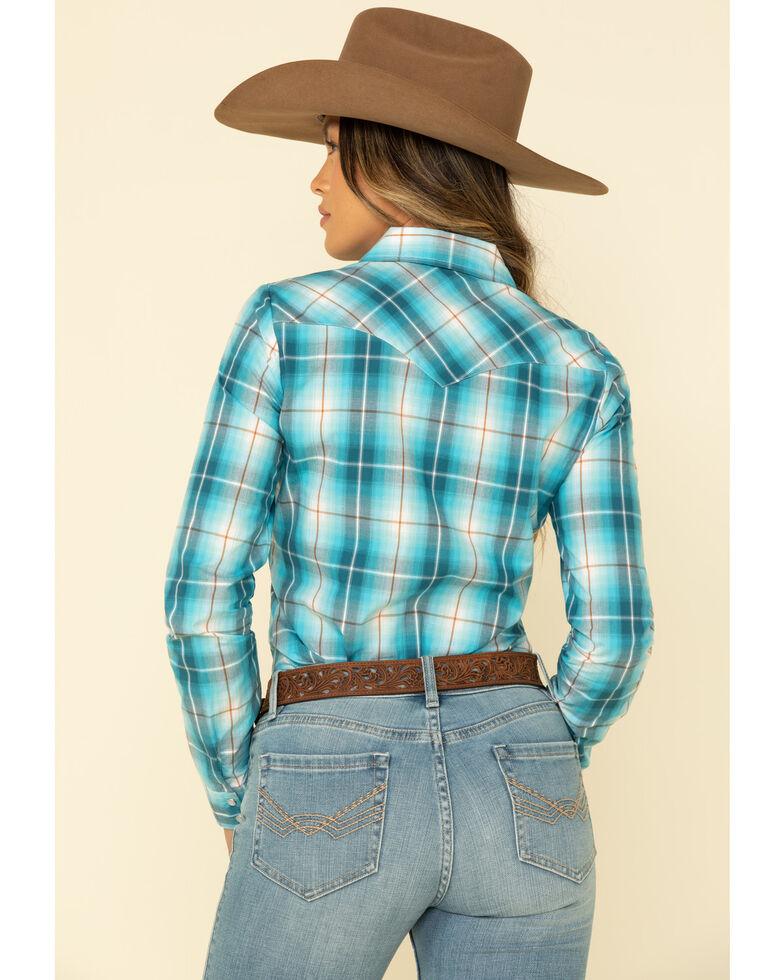 Amarillo Women's Blue Turquoise Plaid Long Sleeve Western Shirt , , hi-res