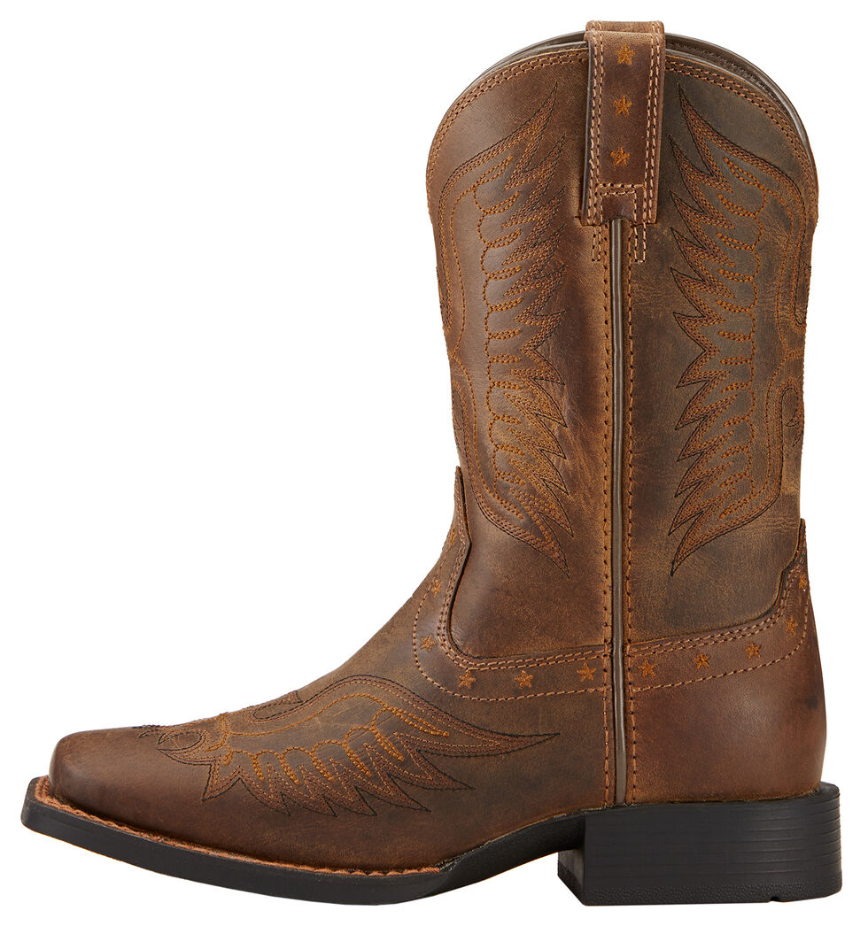 Ariat Boys' Honor Cowboy Boots - Square Toe, Distressed, hi-res