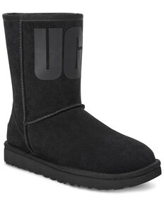 UGG Women's Classic Short Boots - Round Toe, Black, hi-res