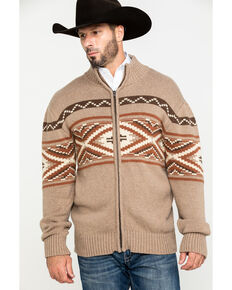 Stetson Men's Rugged Aztec Border Print Zip Front Sweater , Brown, hi-res