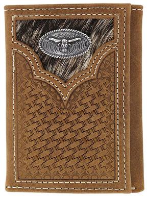 Cody James Men's Hair-on-Hide Longhorn Trifold Wallet, Brown, hi-res