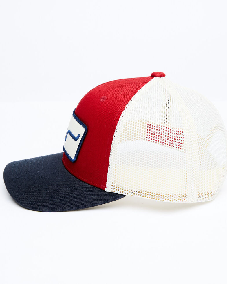Kimes Ranch Red The Cutter Horns Logo Patch Mesh-Back Ball Cap , Red, hi-res