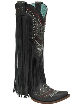 Corral Crystal and Fringe Cowgirl Boots - Snip Toe, Black, hi-res