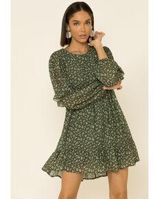 Peach Love Women's Floral Print Dress, Olive, hi-res