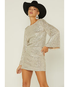 By Together Women's Gold Sequin Flare-Sleeve Open-Back Mini Dress , Gold, hi-res