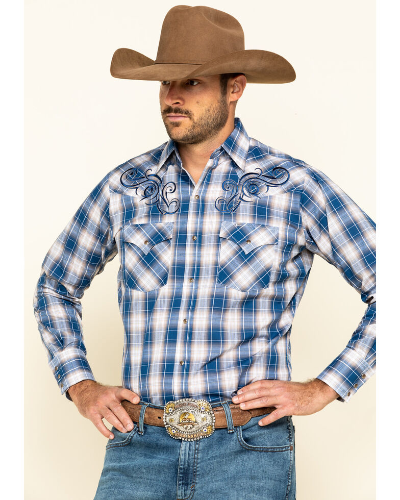Ely Cattleman Men's Embroidered Plaid Long Sleeve Western Shirt , Blue, hi-res