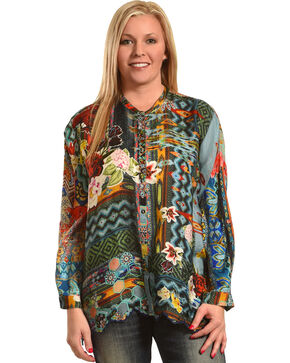 Johnny Was Women's Canvas Printed Silk Twill Tunic , Multi, hi-res