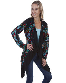 Honey Creek by Scully Women's Black Floral Embroidered Jacket, Black, hi-res