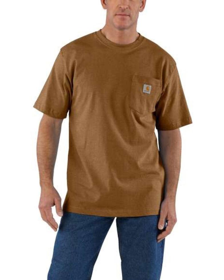 Carhartt Men's Brown Workwear Pocket Short Sleeve Work T-Shirt - Big , Brown, hi-res