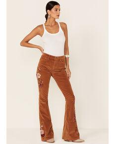 Driftwood Women's Embroidered Farrah Flare Leg Jeans, Orange, hi-res