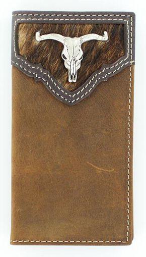 Nocona Hair-On-Hide Steer Skull Concho Rodeo Wallet, Brown, hi-res