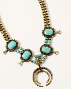 Shyanne Women's Golden Dreamcatcher Squash Blossom Necklace, Gold, hi-res