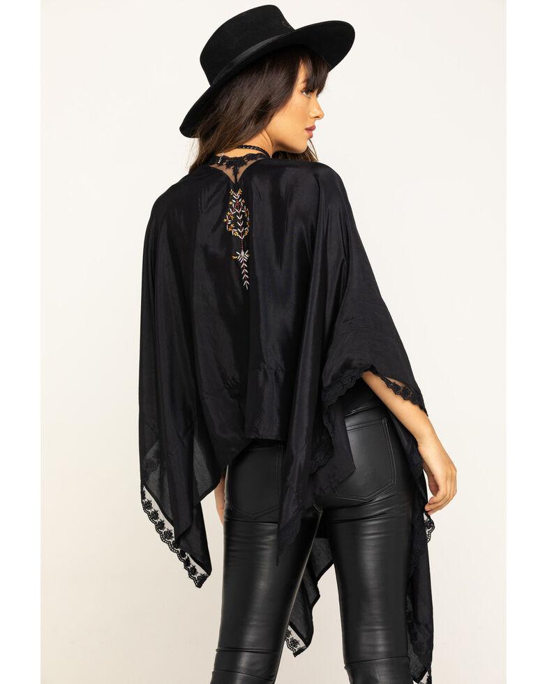 Shyanne Women's Black Embroidered Shawl , Black, hi-res