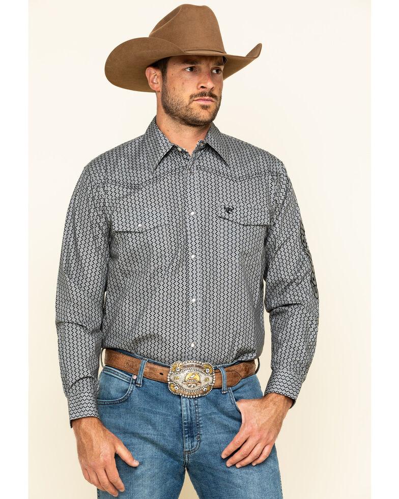 Cowboy Hardware Men's Charcoal Overlap Geo Print Long Sleeve Western Shirt , Charcoal, hi-res