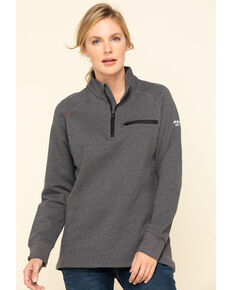 Ariat Women's Charcoal Heather FR Rev 1/4 Zip Pullover , Charcoal, hi-res
