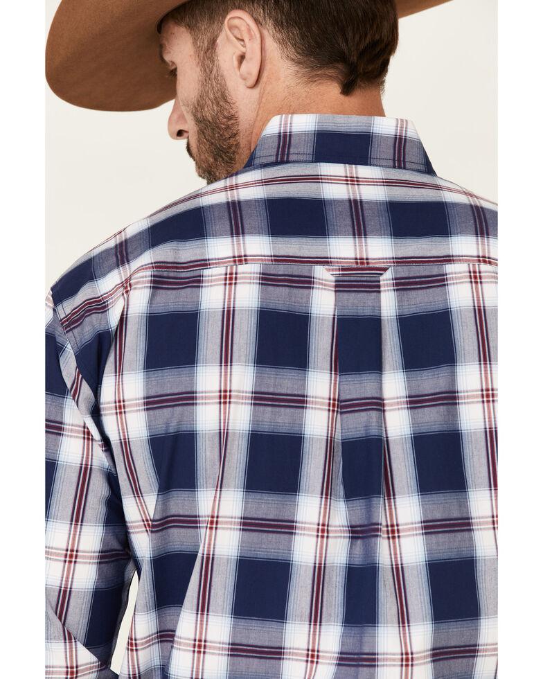 Amarillo Men's Summer Blues Large Plaid Snap Short Sleeve Western Shirt , Navy, hi-res