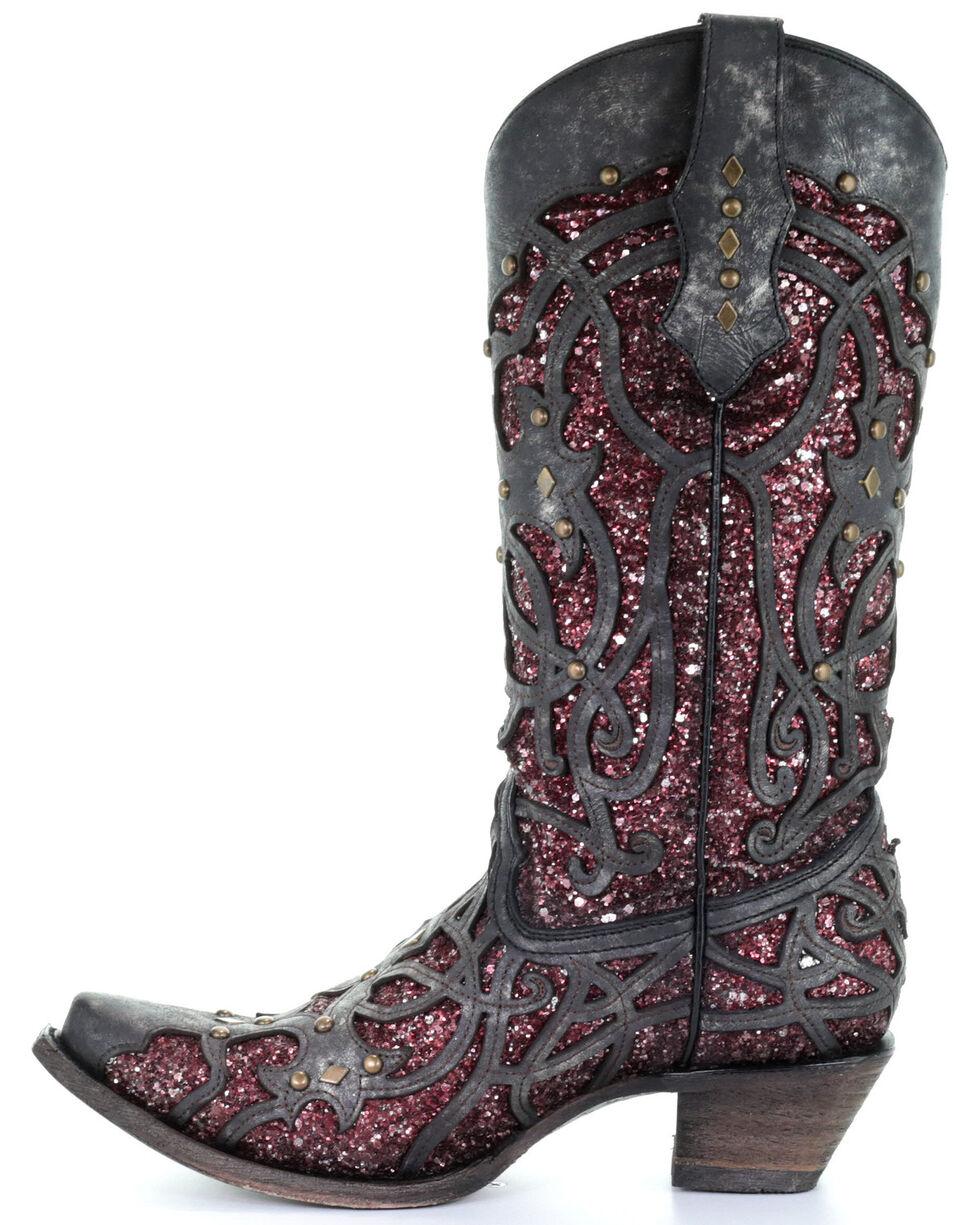 Corral Women's Plum Glitter Inlay Western Boots - Snip Toe, Black, hi-res
