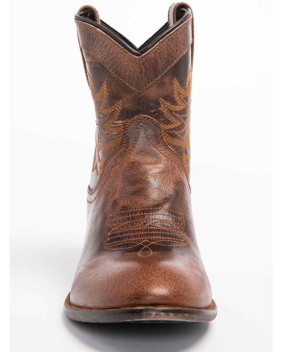 Dingo Womens Willie Western Cowboy Boots Collared Leather Round Toe Antique Tan