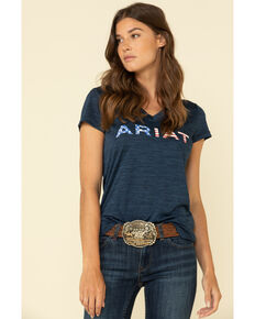 Ariat Women's Navy Laguna Logo Graphic Tee, Navy, hi-res