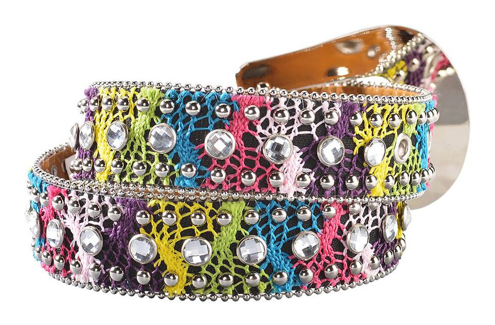 Nocona Girls' Bedecked & Crocheted Western Belt - 20-28, Multi, hi-res