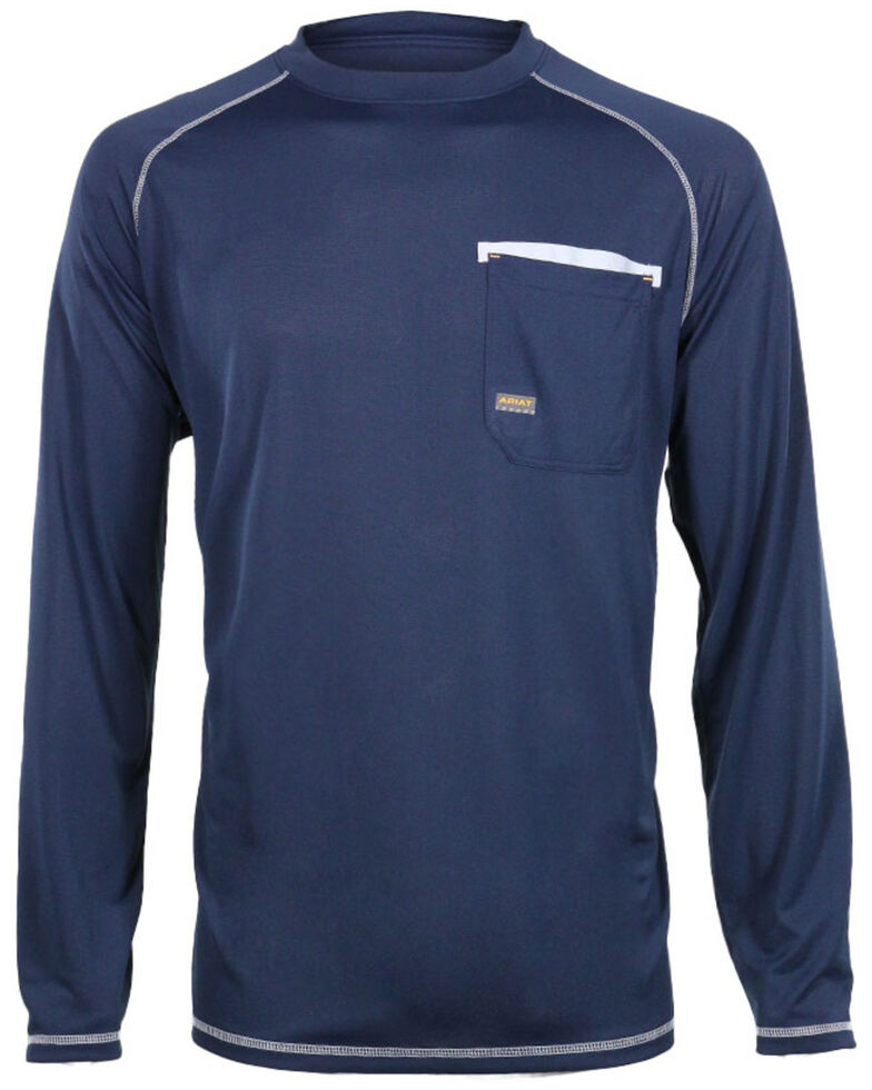 Ariat Men's Rebar Sun Stopper Long Sleeve Work Shirt , Navy, hi-res