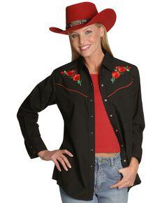 Ely Walker Women's Embroidered Red Roses Vintage Western Cowboy Shirt, Black, hi-res