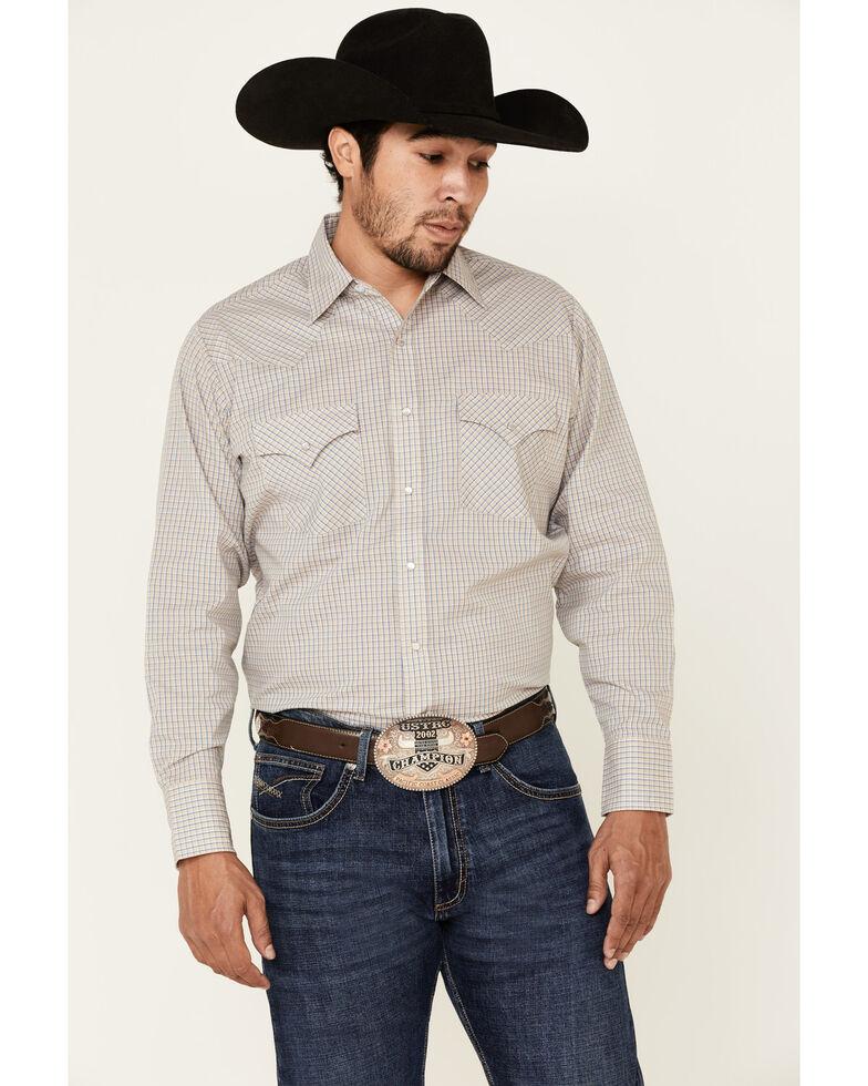 Ely Walker Men's Khaki Small Check Plaid Long Sleeve Snap Western Shirt , Beige/khaki, hi-res