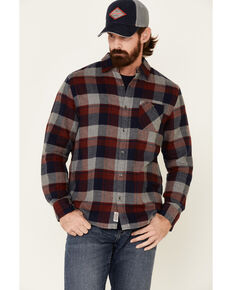 Flag & Anthem Men's Maroon Lomira Plaid Long Sleeve Western Flannel Shirt , Maroon, hi-res