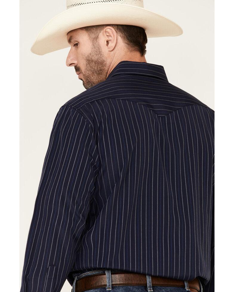 Panhandle Men's Navy Dobby Striped Long Sleeve Western Shirt , Navy, hi-res