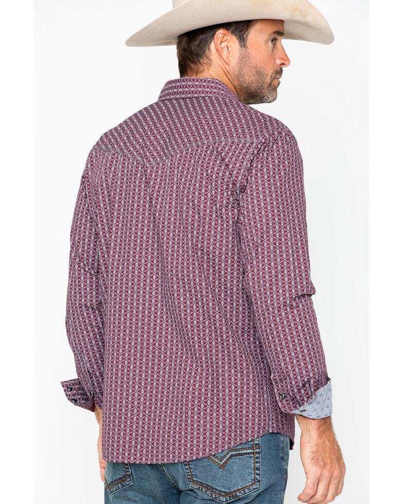 Moonshine Spirit Men's Tribe Geo Print Long Sleeve Western Shirt, Maroon, hi-res